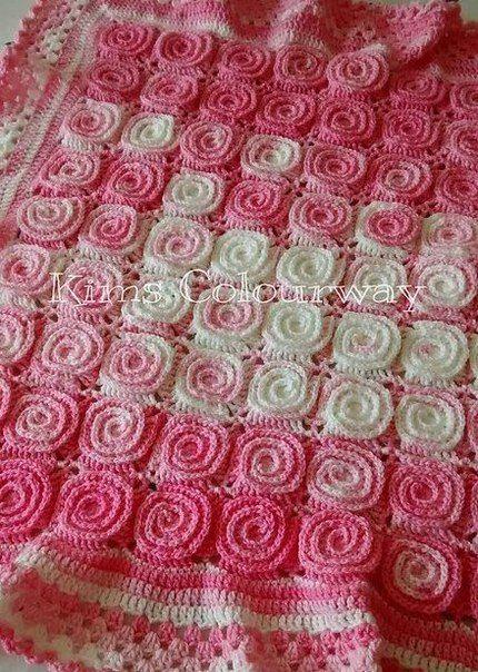 uncinetto copertina rosa